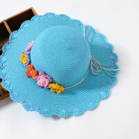 2016春夏儿童帽子五朵小花蝴蝶结女童太阳帽宝宝沙滩遮阳帽