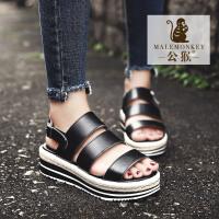 公猴夏季松糕凉鞋女厚底坡跟学生女凉鞋真皮平底中跟平跟罗马凉鞋