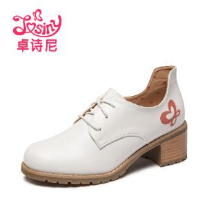 卓诗尼新款欧美单鞋女中跟粗跟英伦小皮鞋女鞋