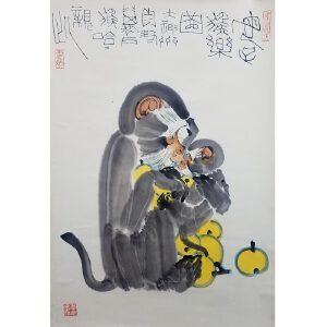 李燕 母子猴乐图