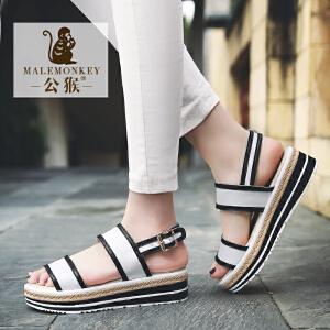 公猴松糕凉鞋女夏中跟平底女鞋一字式凉拖鞋休闲厚底l罗马凉鞋子