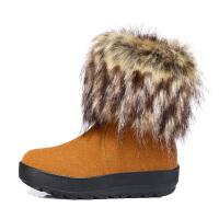 【冬季清仓】古奇天伦 真皮牛皮女鞋厚底休闲鞋羊毛短靴狐狸毛女靴GQTL 731