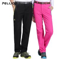 法国PELLIOT/伯希和 户外软壳裤 男女加厚防风抓绒裤子软壳冲锋裤