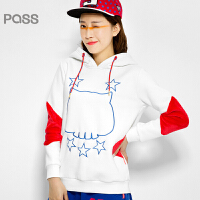 PASS原创潮牌冬装 加绒牛角帽绒衫加厚撞色卫衣女6540521186