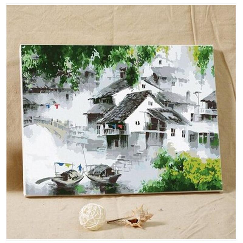 创意手绘画 数字油画 大幅客厅人物风景简单手绘创意装饰画_梦里水乡