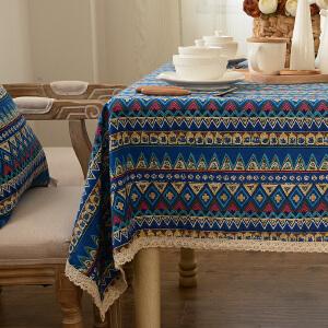乐唯仕波西米亚蓝色条纹纯棉时尚居布艺桌布台布盖布茶几布抱枕套