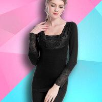 黑色束身无缝女纤体中厚款方领贴身秋冬季长裤花边保暖内衣两件套