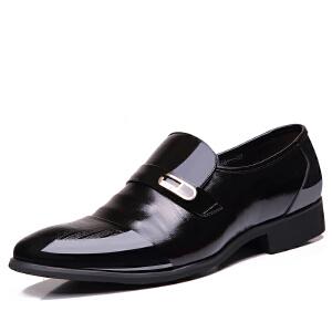 格罗堡春季新款男士商务正装休闲皮鞋英伦潮流低帮尖头皮鞋