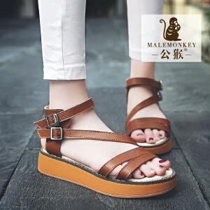 公猴夏季平底凉鞋女真皮中跟女凉鞋学生凉拖鞋松糕鞋子女罗马凉鞋