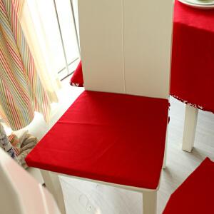 乐唯仕2条装椅垫坐垫布艺夏凉学生椅子垫纯棉红色沙发办公室电脑