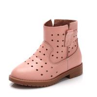 舞玛女童靴子单靴牛皮2017春夏季新款儿童镂空短靴子宝宝小公主鞋
