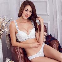 白色蕾丝心形刺绣女士内衣 调整型性感深V加厚聚拢文胸套装