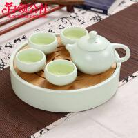 白领公社 茶壶套装 茶具套装 陶瓷茶壶带4茶杯套装送亲人朋友节日礼物翘把壶4杯子套装绿亚光茶壶