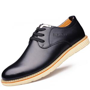 格罗堡春季新款英伦系带休闲皮鞋男鞋新款男士牛皮商务休闲鞋时尚板鞋透气鞋子男