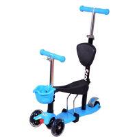 【当当自营】炫梦奇儿童滑板车 可坐玩具车 四轮闪光 可调高低 蓝色