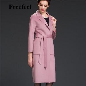 Freefeel2017新款春装羊绒大衣欧美风中长款时尚女装毛呢外套1605