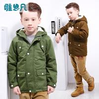 唯思凡童装男童秋冬装2016新款上衣儿童加绒外套中大童加厚外衣