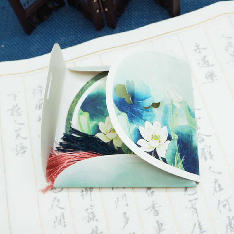 萌味 书签 复古中国风异形古风唯美拼接套装创意小礼品之圆形书签带