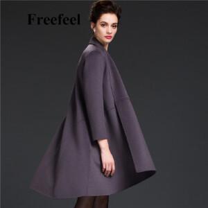 Freefeel2017新款春装羊绒大衣欧美风中长款时尚女装毛呢外套1682