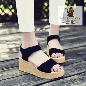 公猴夏季坡跟凉鞋女真皮松糕学生休闲女鞋罗马凉鞋厚底鞋高跟凉鞋