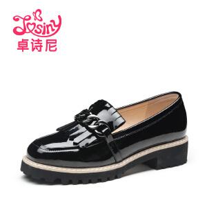 卓诗尼2016秋季新款漆皮小皮鞋流苏中跟厚底单鞋女鞋