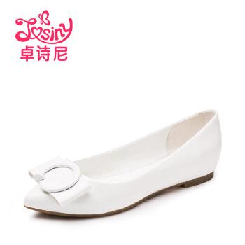 卓诗尼2016秋季新款浅口平底女鞋 甜美漆皮尖头单鞋女