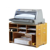 创意办公木质桌面收纳柜票据快递单打印机架子多层置物格子架