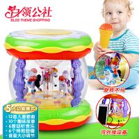 白领公社 儿童玩具 带麦克风音乐旋转触摸充电男孩女孩婴儿宝宝拍拍鼓益智玩具0-6-12个月  手拍鼓  生日礼品 儿童生日礼物