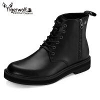 Tigerwolf虎狼公社 高帮男靴马丁靴英伦复古潮流皮靴增高休闲男靴