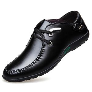 格罗堡春夏新品驾车鞋韩版潮流豆豆鞋男鞋英伦舒适系带鞋懒人时尚休闲单鞋子男款H8777