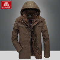 Afs jeep棉衣男装冬季新品大码纯棉加厚脱卸帽棉服中长款外套9999