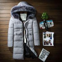冬装新款男士中长款棉服韩版修身大毛领棉衣青年大码加厚外套