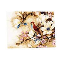 喜上眉梢数字油画大幅大画客厅装饰画鸟手绘油画