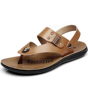 格罗堡春季新款凉鞋男露趾男士凉鞋防滑沙滩鞋男透气休闲拖鞋男韩版皮凉鞋子