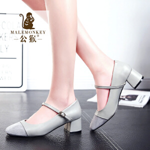 公猴春夏新款高跟鞋女粗跟中跟单鞋简约通勤女鞋圆头甜美时尚