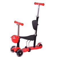 【当当自营】炫梦奇儿童滑板车 可坐玩具车 四轮闪光 可调高低 红色