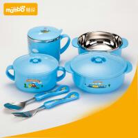 蔓葆 儿童不锈钢餐具 可爱卡通宝宝吃饭碗 防烫保温儿童汤碗