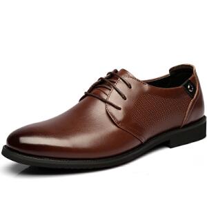 格罗堡春季新款商务休闲鞋男鞋时尚休闲皮鞋系带正装鞋婚鞋