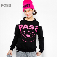 PASS原创潮牌冬装 时尚运动插肩袖撞色加绒加厚卫衣女6540521187