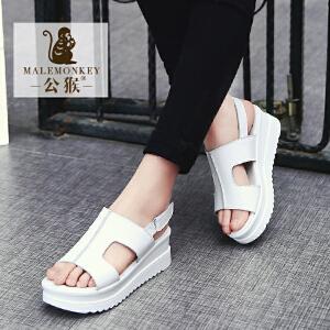 公猴夏季坡跟凉鞋女真皮厚底松糕女鞋中跟休闲女凉鞋子学生凉拖鞋