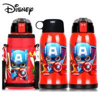 迪士尼6015儿童保温杯不锈钢防漏杯子带吸管宝宝水壶500ml