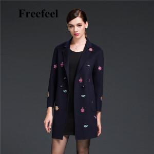Freefeel2017新款春装羊绒大衣欧美风中长款时尚女装毛呢外套1607