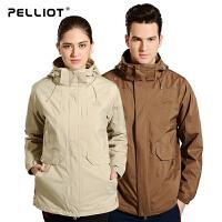 【折上再减】法国PELLIOT户外冲锋衣 女男三合一两件套长款加厚防水透气冲锋衣