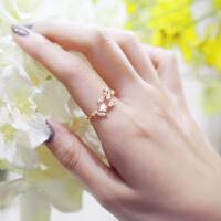 欧丁纯银戒指叶子水钻开口可调节指环食指女日韩配饰品H044