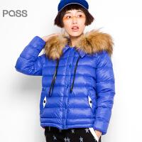 PASS原创潮牌冬装 宽松太空面包服时尚保暖大毛领短款羽绒服女6540941021