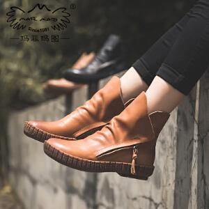 玛菲玛图秋天靴子女2017新款短靴英伦单皮鞋女款平底魔术贴马丁靴2365-6秋季新品