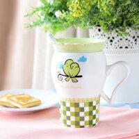 比翼鸟带盖波浪杯牛奶陶瓷马克杯 简约可爱情侣杯 创意时尚陶瓷杯