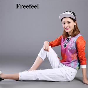 Freefeel2017春夏新款牛仔裤女纯棉修身显瘦小脚裤白色百搭大码破洞裤女裤