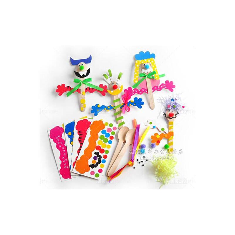木勺剧场表演 人物幼儿园手工diy材料 儿童创意制作 幼教手工制作 1包