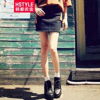 【超级品牌日】 韩都衣舍2016韩版女装秋装新款牛仔裙短裙包臀半身裙LZ6077⑥
